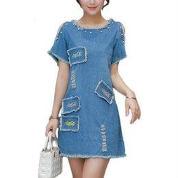 Wholesale Girl S Denim Dresses - Sexy Off Shoulder Summer 5XL Plus Size Denim Dress Vestidos Women Casual Slim Girls Mini Shirt Denim Dress 2018