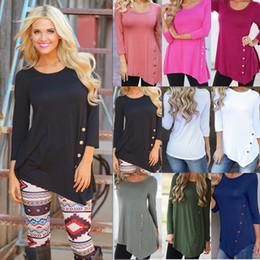 Wholesale long blouse neck designs - S-6XL Plus Size Women Irregular Long Sleeve Shirt Ladies Spring Autumn Casual Loose Button T Shirt Blouse Fashion Design Round Neck Top Tees