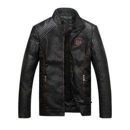 Wholesale Slim Mens Biker Jacket - Wholesale- 2017 Autumn Fashion Mens Biker PU Leather Jacket Motorcycle Men Casual Coat Thick Slim Fit Male Stand Collar Jacket Coat