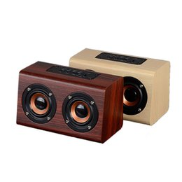 Wholesale Retro Wireless Phone - W7 wood speaker Thin you Wooden Retro HIFI 3D Dual Loudspeakers Bluetooth Wireless Speaker With Handsfree TF Card for phones 0108003
