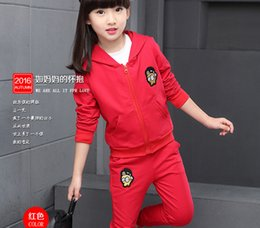 Wholesale Set Girl Retail - retail girls Clothing Sets 3pcs set Spring Autumn boys&girls suits Clothing Set children Sport Cartoon Suits Hoodie tops T shirts+kids pants