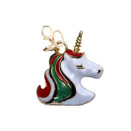 Colgante de joyería de moda unicornio lindo llavero de metal llavero color pintura joyas mochila accesorios llavero del coche desde fabricantes