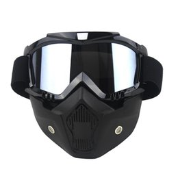 clear ski goggles Coupons - CAR-partment Ski Bike Motorcycle Face Mask Goggles Motocross Motorbike Motor Open Face Detachable Goggle Helmets Vintage Glasses