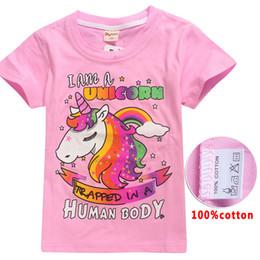 Wholesale Kids I - Kids Unicorn T Shirts Big Boys Girls Cotton Shirts Children Summer Short Sleeve I am a Unicorn