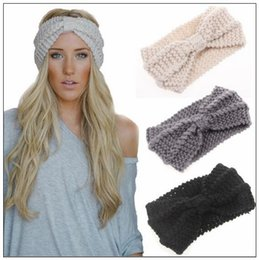 Wholesale Knit Head Band Bow - 14 Colors Women Lady Crochet Bow Knot Turban Knitted Head Wrap Hairband Winter Ear Warmer Headband Hair Band Hair Accessory CCA8966 200pcs
