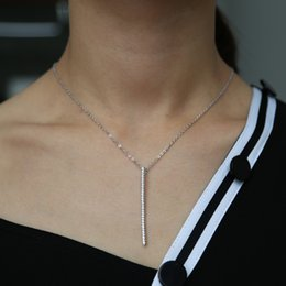 brass necklace charms Australia - 2018 Charm Sexy Modern Y Shape Long Necklace With pave clear CZ Thin Chain Necklaces for cute girl Women Party Wedding simply Jewelry