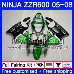 Zzr livelle verdi online-Bodys black Per KAWASAKI NINJA ZZR-600 2005 2006 2007 2008 Cowling green gloss 219HM.68 ZZR 600 600CC ZX600 CC ZZR600 05 06 07 08 Carenatura