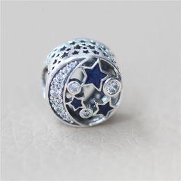 nachthimmelschmuck Rabatt Authentic Blue Emaille Schmuck Zubehör Perlen Original Box für Pandora 925 Sterling Silber Nostalgischer Nachthimmel Charms Armband machen