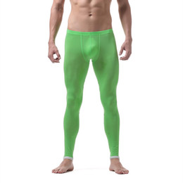 tight transparent underwear Coupons - Brand new men long johns warm pants Thin section nylon transparent sexy gay underwear men tight legging long Johns size XL
