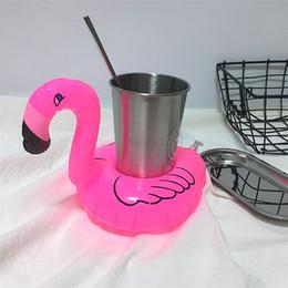 2019 dispositivo pneumático Novo Inflável Flamingo Drinks Copo Titular Piscina Flutua copo Coasters Dispositivos de Flutuação Crianças Brinquedo de Banho T3I0287 dispositivo pneumático barato