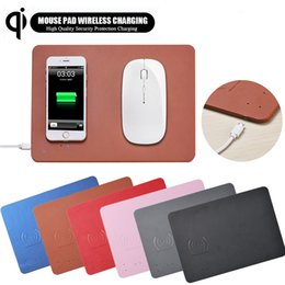 Tappetini per mouse illuminati online-Mouse pad caricabatterie wireless QI ricarica wireless con indicatore LED per iPhone X 8 8Plus Samsung Note8 S9 S8 Nexus 6 7