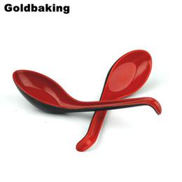 Cucharas de plástico chinas online-Cuchara de sopa de plástico chino estilo cucharón de melamina de 12 piezas