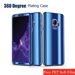 Wholesale mirrored plastic film - Plating Mirror Case wtih Film PC Full protection Cover for iPhone X 8 7 6 Plus Samsung S9 8 Plus Note 8 A7 S7 Edge OPP Soundmae