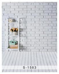 Wholesale Brick Computer - 5x7ft Vinyl White Brick Wall Wood Floor Photo Backdrop Background