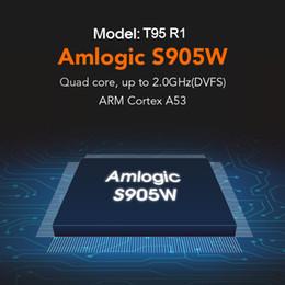 2019 8-гигабитный медиаплеер Самый дешевый T95 R1 четырехъядерный Amlogic S905W 1GB+8GB или 2GB + 16GB Android 7.1 TV Box арабский IPTV потокового медиа-плеер скидка 8-гигабитный медиаплеер