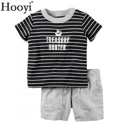 Wholesale grey colour suits - Stripe Pirate Baby Boy 2Pcs Clothes Suit Newborn Clothing Sets Sailor Treasure Hunter T-Shirt Grey Shorts Pant Outfit Cotton Top