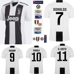 Wholesale home soccer jersey - New 2019 RONALDO JUVENTUS Soccer Jersey 18 19 JUVE 2018 Home Away DYBALA HIGUAIN Football Shirt CRISTIANO Uniform Team