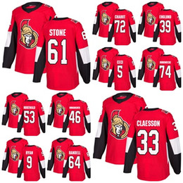 Wholesale ice hockey outlet - 2018 Factory Outlet Mens Ottawa Senators 9 Bobby Ryan Thomas Chabot Mark Stone Claesson 39 Andreas Englund Red Home Hockey Jerseys Stitche