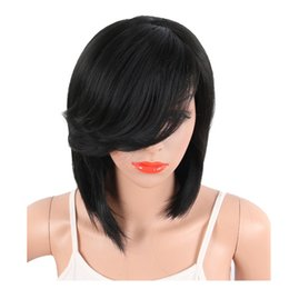 Wholesale synthetic white hair bangs - 10 inchs With Short Straight Synthetic Bob Wig Bangs For Black White Women Brazilian Hair Wig Natural Heat Resistant Hairstyle