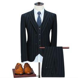 Elegante traje de boda a rayas más el tamaño flaco esmoquin casual para hombre Formal de tres piezas para hombre Slim Fit trajes con chaleco S-5XL desde fabricantes