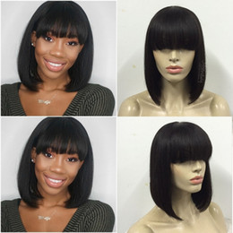 Wholesale Indian Hair Bangs - Bob Human Hair Wigs With Bangs Straight Brazilian Full Lace Wig With Baby Hair Virgin Lace Front Wig For Black Women