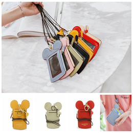 Wholesale cartoon holder strap - cartoon Ear Letter Lanyard Neck Strap Card Holder Name Credit Card Bag Coin Purse Stationery Credit Card Holders KKA4299