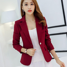 Wholesale women working suits design - Women Suit Jackets Work Office Outwear Top Blazer Summer Short Design Long Sleeve Blazer Feminino Wine Red Navy blue Gray