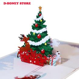 2019 presentes bonitos do natal para amigos 2018 Cartão Do Cumprimento Do Natal 3D Árvore De Natal Padrão De Veados Cartão Popup Presente para o amigo bonito dos desenhos animados cartões desconto presentes bonitos do natal para amigos