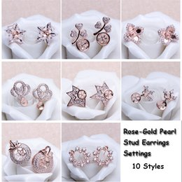 Wholesale Mounting Studs - 10 Styles Pearl Earring Setting Zircon Solid Rose Gold Earrings Setting Pearl Stud Earring Mounting Earring Blank DIY Jewelry DIY Gift