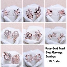 Wholesale Earrings Blanks - 10 Styles Pearl Earring Setting Zircon Solid Rose Gold Earrings Setting Pearl Stud Earring Mounting Earring Blank DIY Jewelry DIY Gift