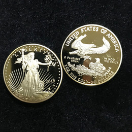 5 unids No magneitc la insignia In God trust Libertad 2018 24 K chapado en oro real Liberty souvenir coin 32.6 mm Réplica de moneda desde fabricantes
