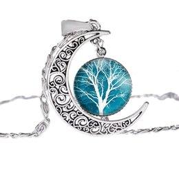 Wholesale Hearts Pictures - Fashion Glass Moon Statement Necklace Vintage Silver Color Jewelry Life Tree Art Picture Pendant Necklace
