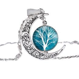 Wholesale Silver Picture Pendants - Fashion Glass Moon Statement Necklace Vintage Silver Color Jewelry Life Tree Art Picture Pendant Necklace