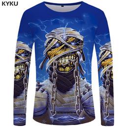 Wholesale Yellow Punk Clothes - KYKU Iron Maiden long Sleeve T-shirt Men Skull T Shirt Punk shirts Gothic Funny Top Tee Casual Mens Clothing