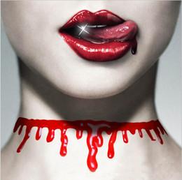 Wholesale Halloween Blood - Halloween Punk Men Women's Blood Drip Choker Necklace Punk Cosplay Party Joke Gifts For Unisex Fashion Jewelry Wholesale C479