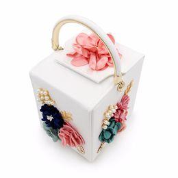 Синие кожаные кошельки онлайн-Women Handbags Floral Pearl Square Box  Bag Leather Green Black Blue Evening Bag Wedding Bride Purse Ladies Small Bags