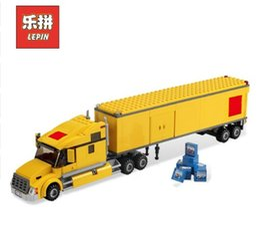 Wholesale Building Blocks Truck - Lepin 02036 City Yellow Truck Building Blocks Bricks Transportation Truck Model Set Assemble Toys Children Gift with Lepin