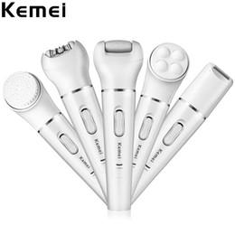 Wholesale Body Massager Waterproof - Kemei KM - 2199 Lady Facial Epilator Shaver Pore Cleanser Massager 5 in 1 IPX4 Waterproof Epilators Callus Remover
