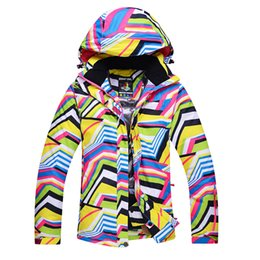 ski costumes Coupons - Female Winter Snow Jackets Zebra Stripes Women Ski Clothes Skiing Snowboarding Costumes Windproof Thermal Ski Outdoor Coats