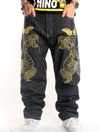 Wholesale Denim Over - new 2018 mens relax fit hip hop loose fit jeans snake embroidery Cross-over denim pants streetwear trousers