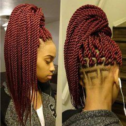 Haarverlängerung synthetisch 1b online-12 14 16 18 20 22 Zoll 22 Wurzeln / Packung Häkeln Zöpfe Senegalese Twist Haarverlängerungen Kanekalon Synthetic Ombre Crochet Braid Flechten Haar