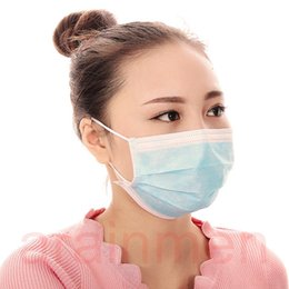 Wholesale Respirator Masks - Free shipping 50pcs Disposable Bacterial Filter Anti-dust Surgical Face Mask 3 Layers Nonwoven Medical Dental Earloop Respirator Colorful