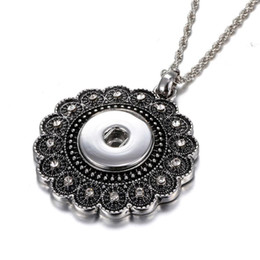 Wholesale christmas clearance - Clearance Sale Time-limited Necklace Collares 18mm Snap Jewelry Antique Silver Snap Pendant Necklace Vintage Flower Snap Button Necklace