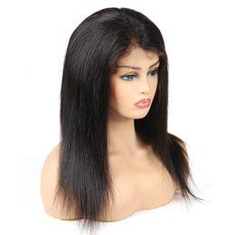 2019 capelli neri medi Parrucche piene del merletto dei capelli umani liberi di trasporto Dritti non trasformati fornitori brasiliani dei capelli del Virgin Remy parrucche per la dimensione media della donna di colore sconti capelli neri medi