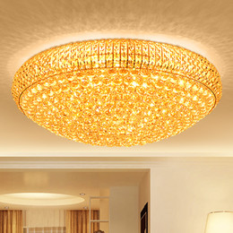 Wholesale fluorescent chandelier bulbs - LED crystal chandeliers noble luxury gold high class K9 crystal chandelier hotel lobby villa led pendant chandeliers with bulbs