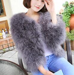 Giacca di pelliccia di piuma dello struzzo online-LET-SETTING 2017 vendita calda Pelliccia di lana di struzzo plus size donna cappotto di piume di pelliccia donne giacche e cappotti invernali