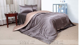 Wholesale Luxury Silk Bedspreads King Size - Luxury silver grey beige silk bedding set queen king size duvet quilt cover bedspread bed in a bag sheets bedroom linen bedsheet