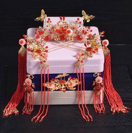 Wholesale chinese silk costume - Bridal red Chinese style costume, tiara, fringed tassel, hairpin, wedding show, dress, hairdressing set.