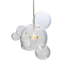 Pingentes de vidro claro moderno on-line-Wongshi Modern Limpar De Vidro Levou Luminária Bolha De Sabão Bola Luminárias Interior Iluminação Lustre Luminária Lâmpada Pendurada