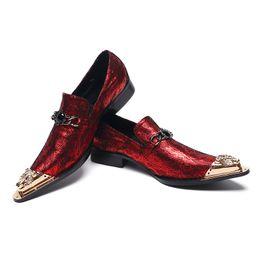 zapatos de boda bling pisos Rebajas Zapatos de Oxford de Bling Bling para hombres con punta de metal dorada Brillo de lujo Flores de boda Zapatos de vestir Zapatos para hombres Zapato plano